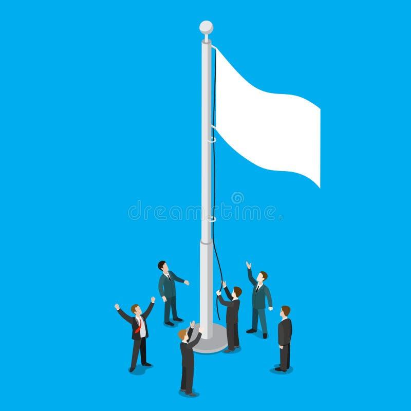 商人白色空的旗子旗杆平的传染媒介等量3d 向量例证