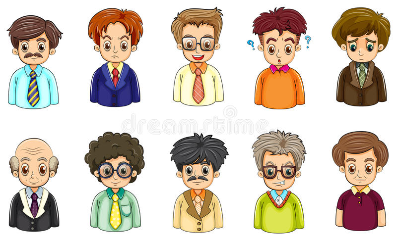 商人的不同的面孔 向量例证