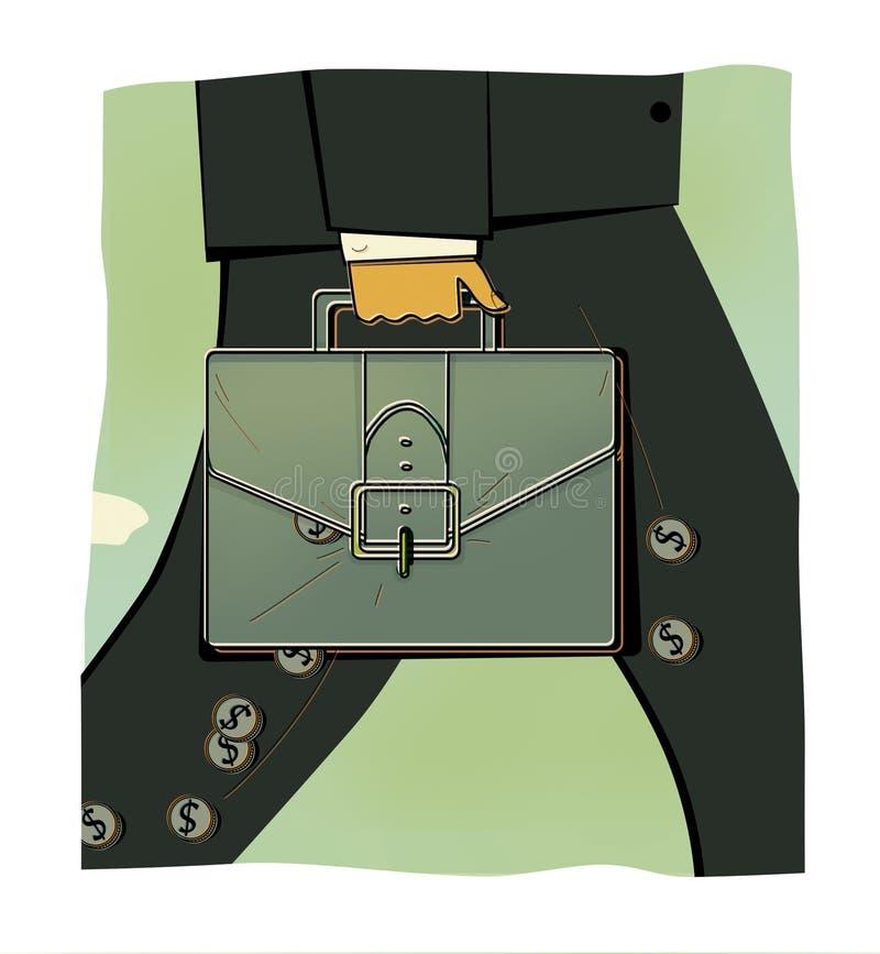 商人的与一个公文包的人的形象的片段在他的手上 从股份单硬币涌现与美元的符号 Sto 库存例证
