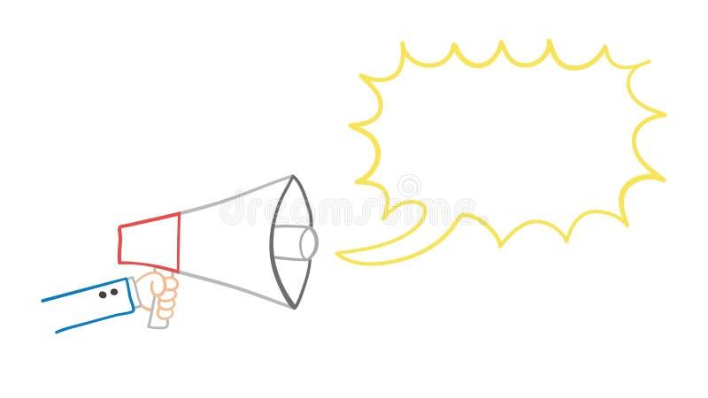 商人的传染媒介手拉的例证举行扩音机和谈判 向量例证