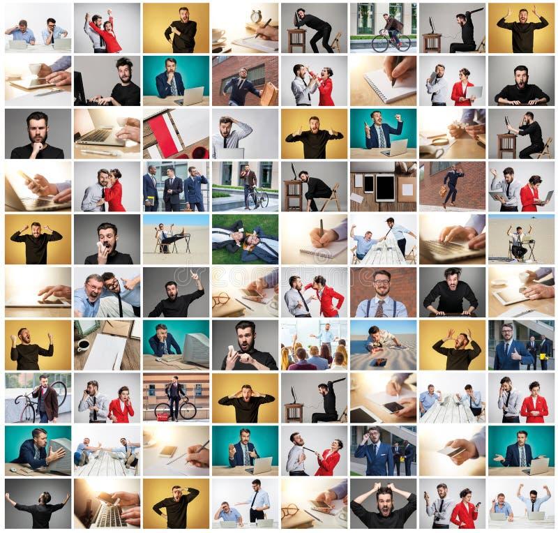 从商人的图象的拼贴画在用不同的情感的办公室 库存照片