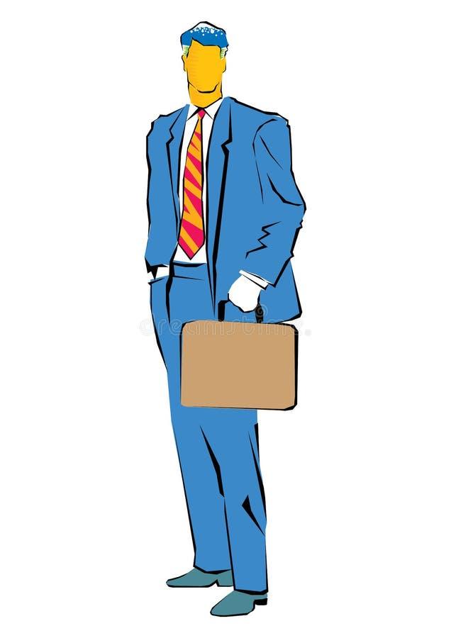商人的摘要Clipart在他的手上站立并且拿着一个袋子 皇族释放例证
