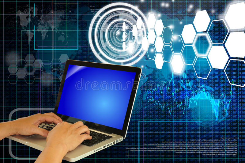 商人的现有量使用膝上型计算机或笔记本关键董事会的 库存例证