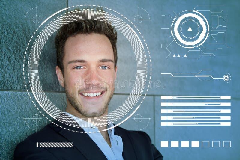 商人的面貌识别由AI的 免版税库存照片