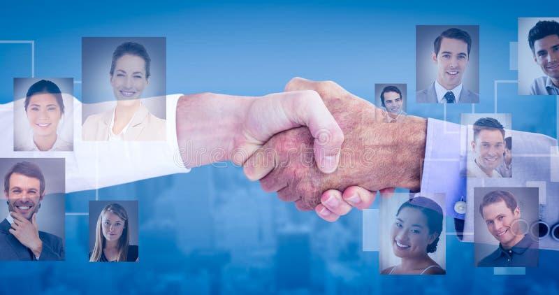 商人的综合图象握手在白色背景的 免版税图库摄影