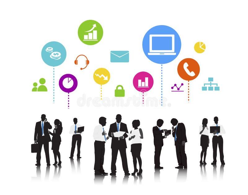 商人社会媒介技术讨论概念 皇族释放例证