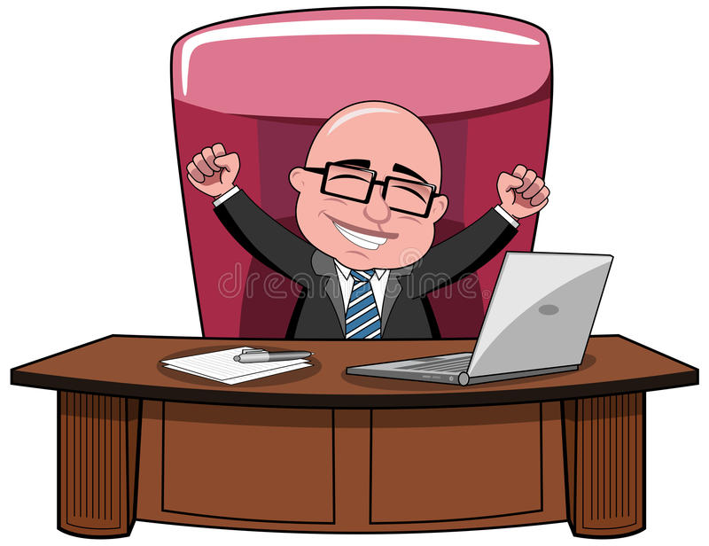 商人秃头动画片成功上司书桌 库存例证