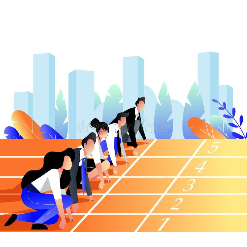 商人种族概念 商人排队了准备好跑在体育轨道 r 库存例证