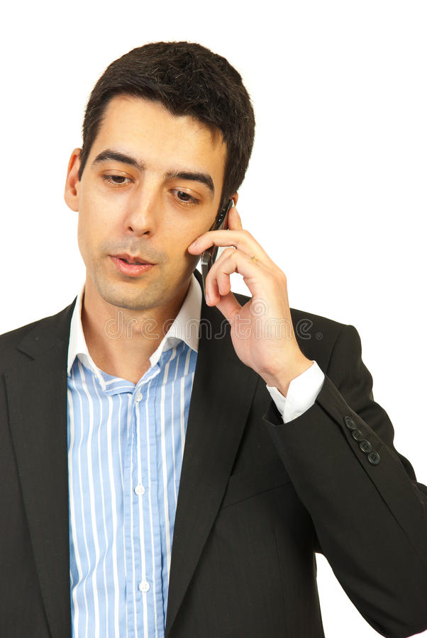 商人移动电话联系 免版税库存照片