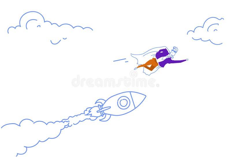 商人穿戴了飞行火箭发射起始的概念成功的战略团队负责人字符的超级英雄斗篷 库存例证