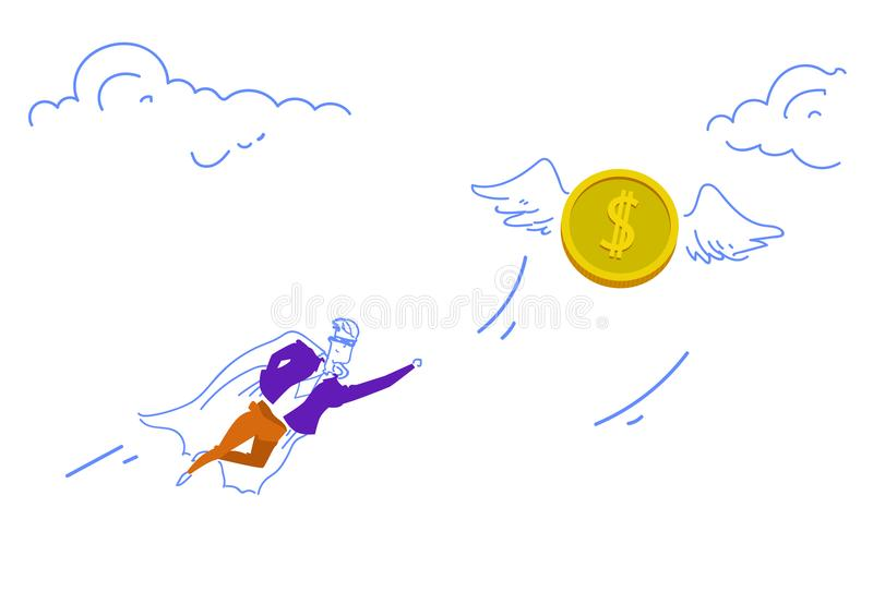 商人穿戴了飞行美元硬币金钱财富成长概念团队负责人字符剪影的超级英雄斗篷 向量例证