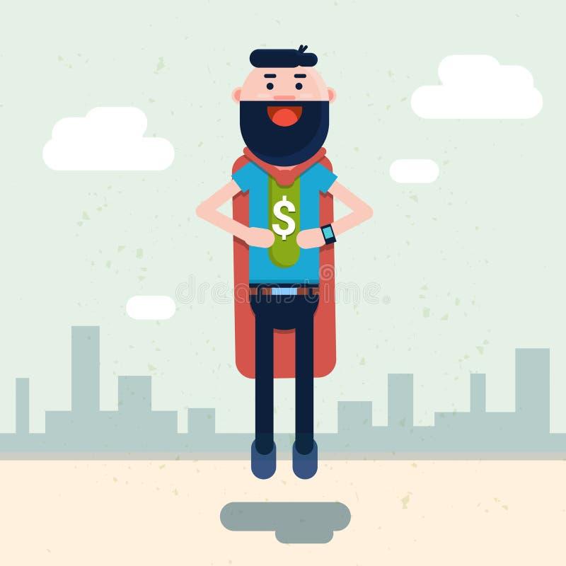 商人穿戴与美元的符号的特级英雄衣服 库存例证