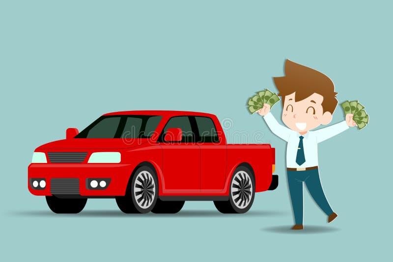 商人站立和拿着充满成功喜悦的金钱并且准备好买作为一辆个人车将使用的提取汽车作为a 向量例证