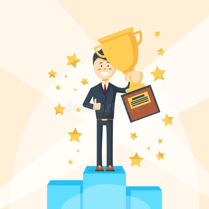 商人站立在垫座的优胜者字符 向量例证