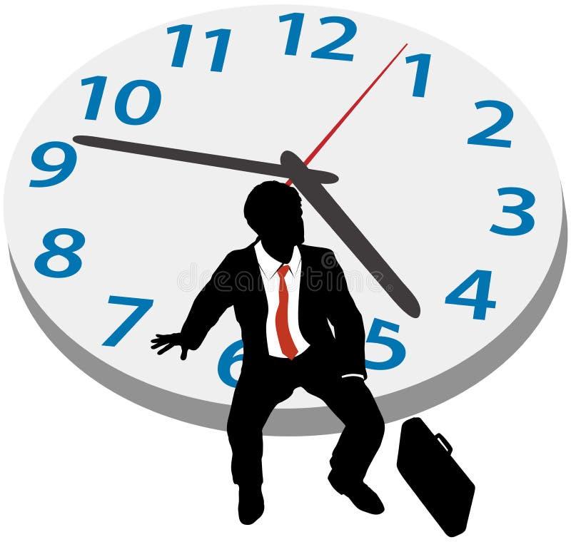 商人等待预约时钟 向量例证