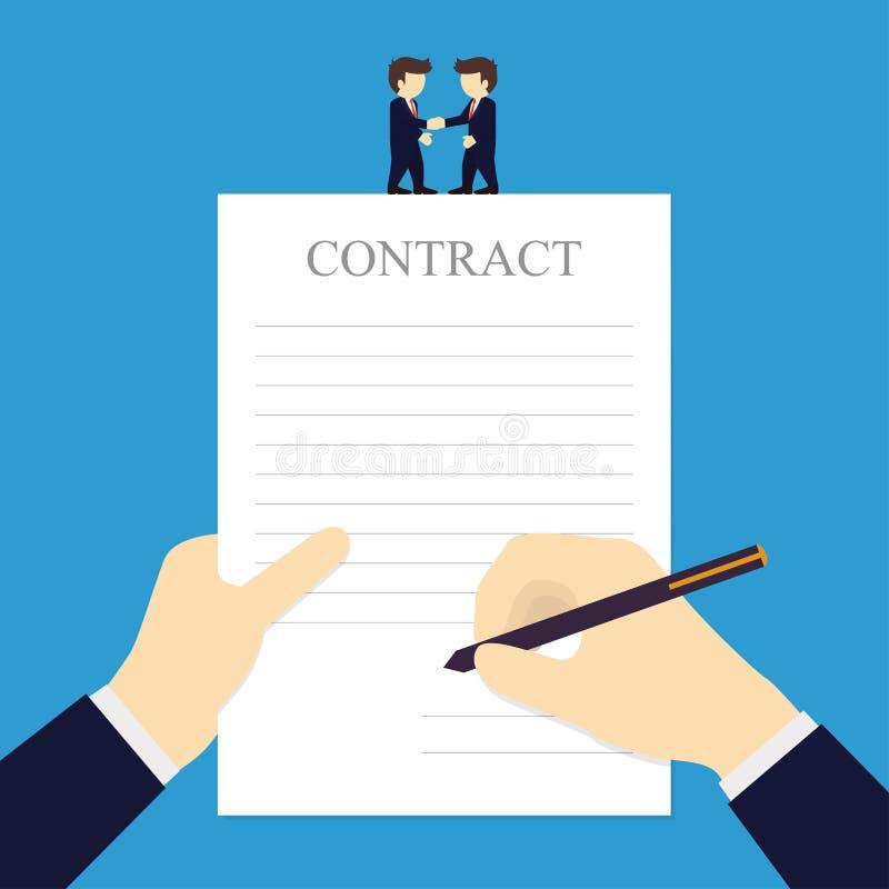 商人签合同的和握手的两个商人 库存例证