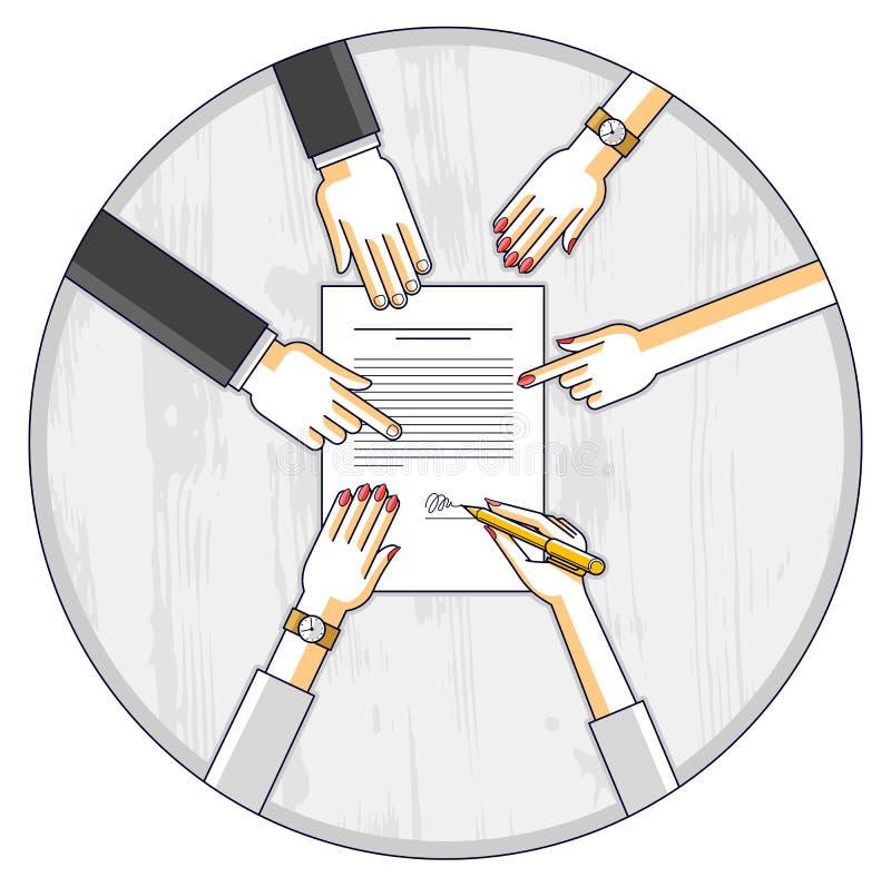 商人签署合同纸张文件或银行顾客写道 库存例证