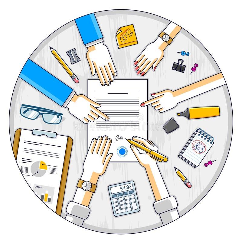 商人签署合同纸张文件或银行顾客写道 向量例证