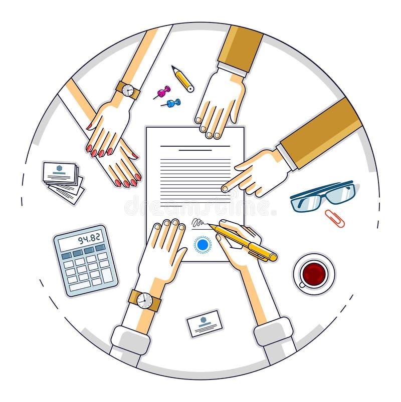 商人签署合同纸张文件或银行顾客写道 皇族释放例证