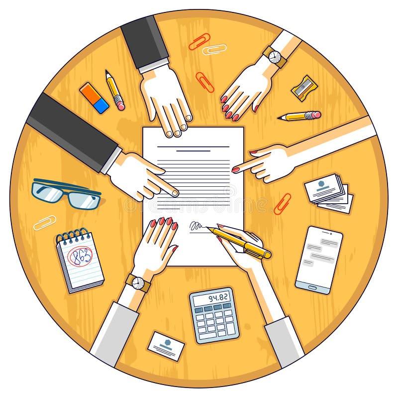 商人签署合同纸张文件或银行顾客在金钱信用的财政形式写一个标志,并且雇员帮助他 库存例证