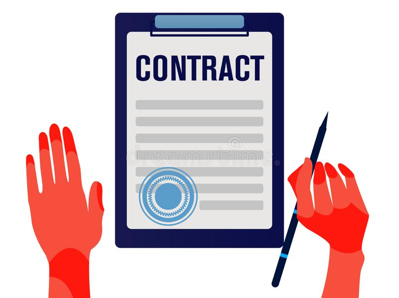 商人签署的合同 工作在协议的公司经理特写镜头  库存例证