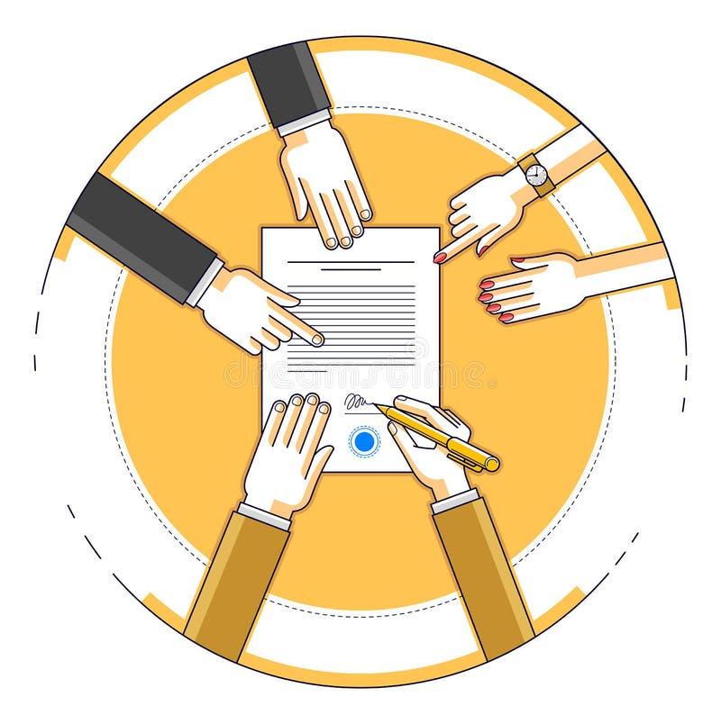 商人签署金钱信用的银行财政形式与emplo的 库存例证