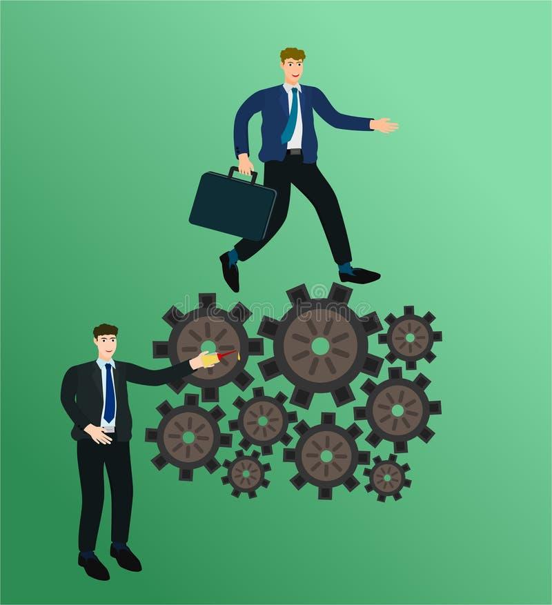 商人管理和赛跑在齿轮概念 库存例证