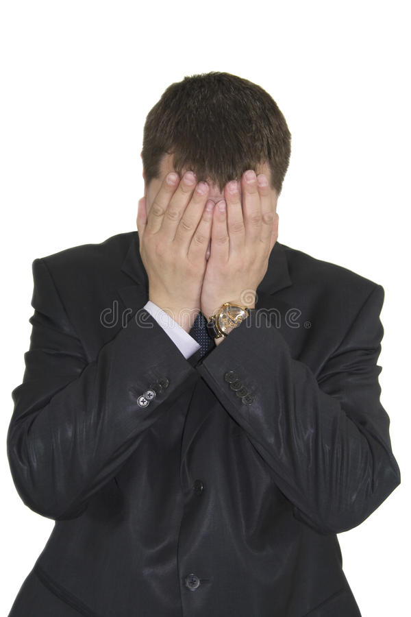 商人紧张的年轻人 免版税库存图片