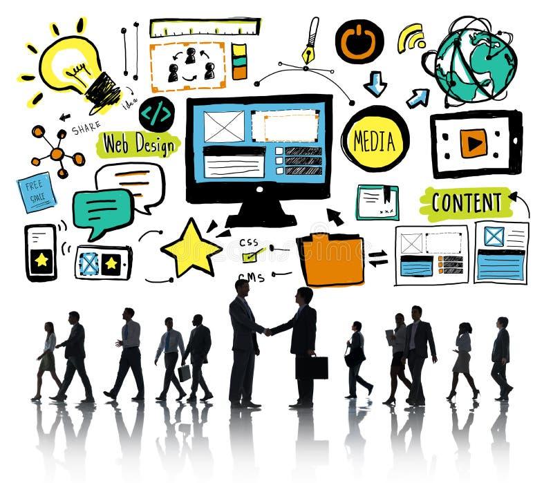 商人网络设计内容合作概念 免版税库存照片