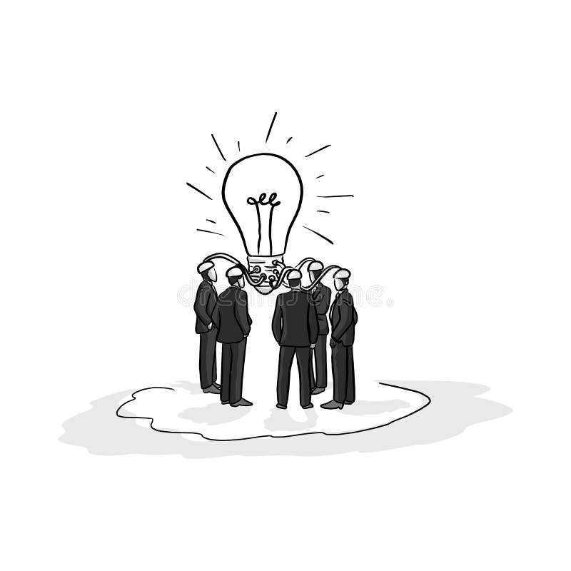 商人群策群力想法传染媒介例证剪影手 向量例证