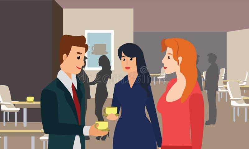 商人聊天的和饮用的咖啡在一个会议在办公室 向量例证