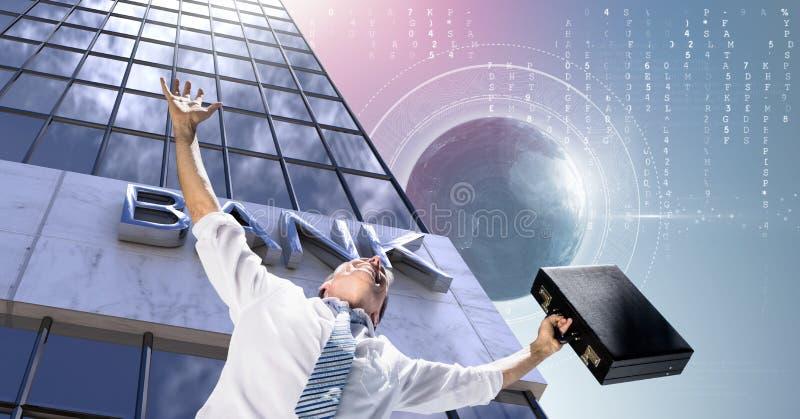 商人舒展有公文包的胳膊和高楼开户有世界地球背景 免版税库存照片