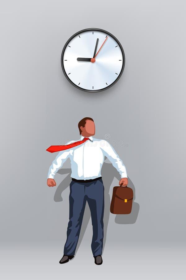 商人英雄时钟 向量例证