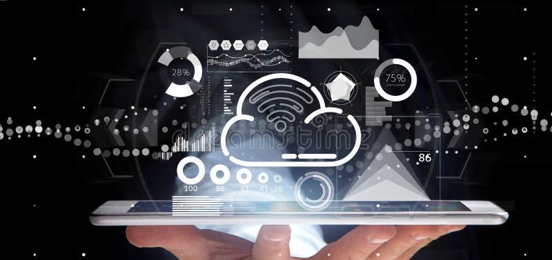 商人藏品与象、stats和数据3d翻译的云彩和wifi概念 免版税库存照片