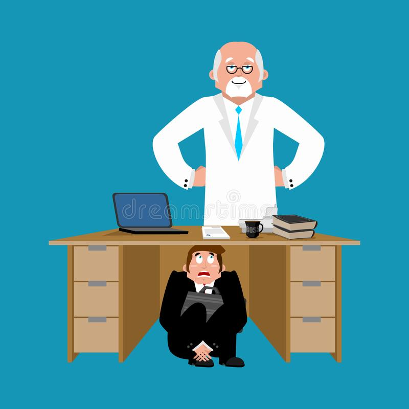 商人被惊吓在医生下桌  从治疗掩藏 向量例证