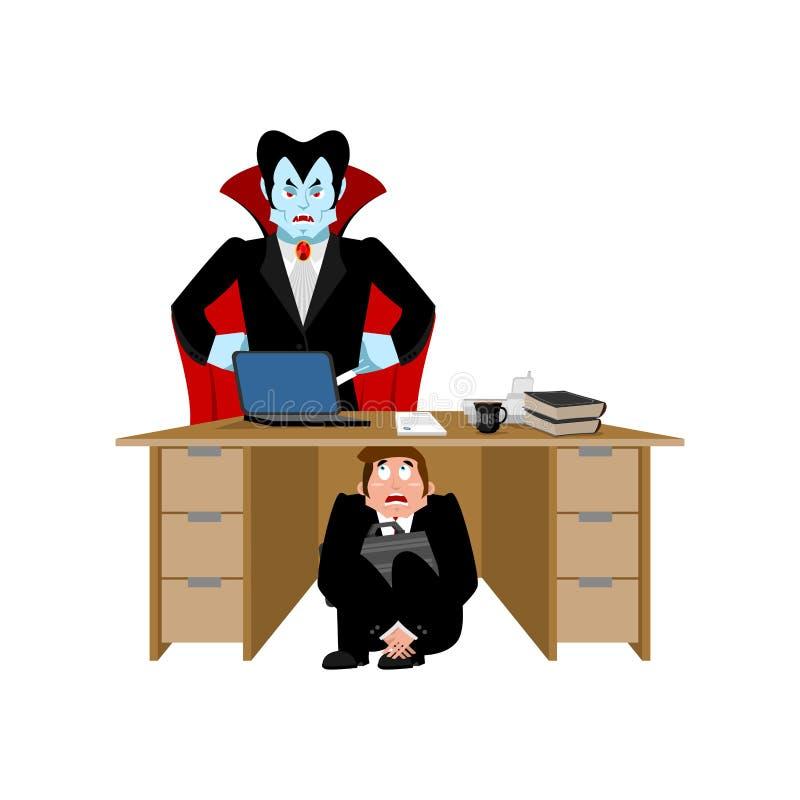 商人被惊吓在德雷库拉吸血鬼下桌  掩藏从 库存例证