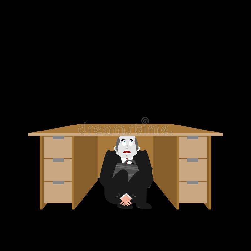 商人被惊吓在桌下 在wo下的害怕商人 库存例证