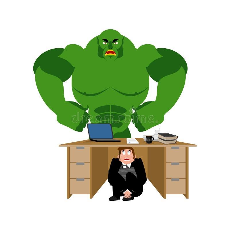 商人被惊吓在绿色妖怪下桌  传染媒介illustra 库存例证