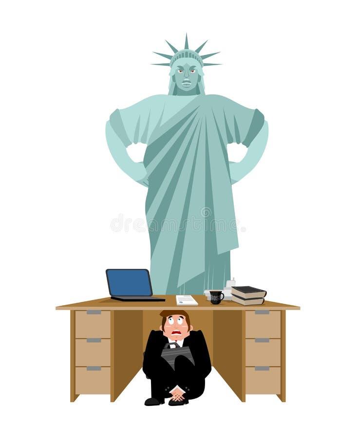 商人被惊吓在自由女神像下桌  吓唬 库存例证