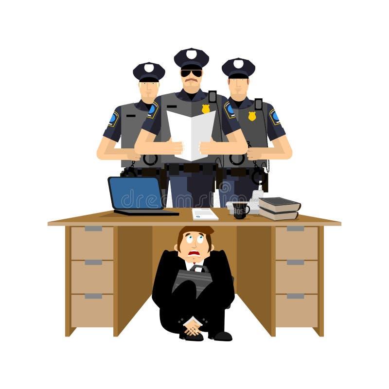 商人被惊吓在警察下桌  害怕事务 库存例证