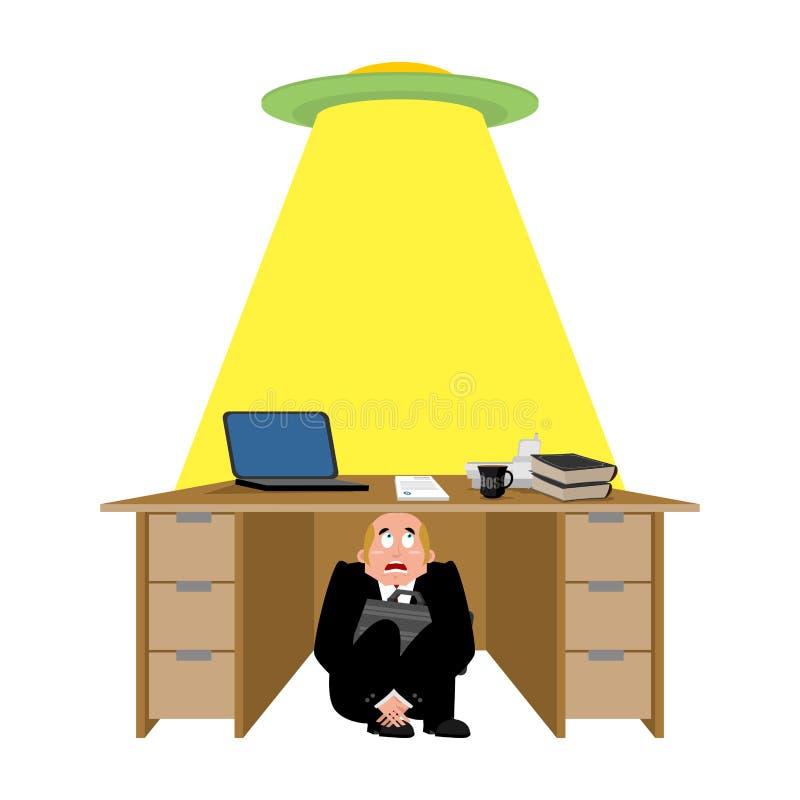 商人被惊吓在飞碟下桌  害怕商人u 库存例证