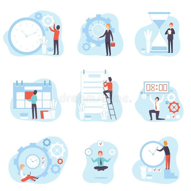 商人计划和控制上班时间集合,时间管理企业概念传染媒介例证 皇族释放例证