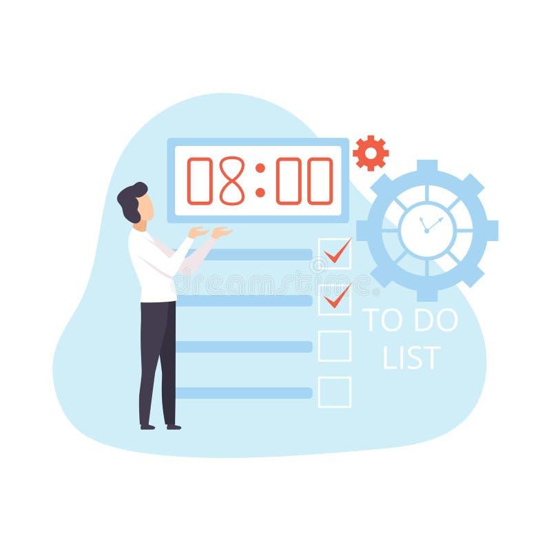商人计划,组织的和控制上班时间,时间管理传染媒介例证的企业概念 库存例证
