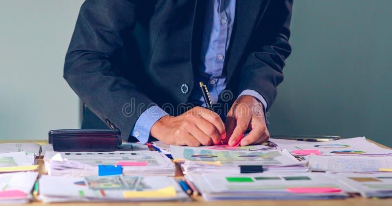 商人计数金钱和计划财务项目的和用途计算器分析财政项目的文件和的图表的 免版税库存照片