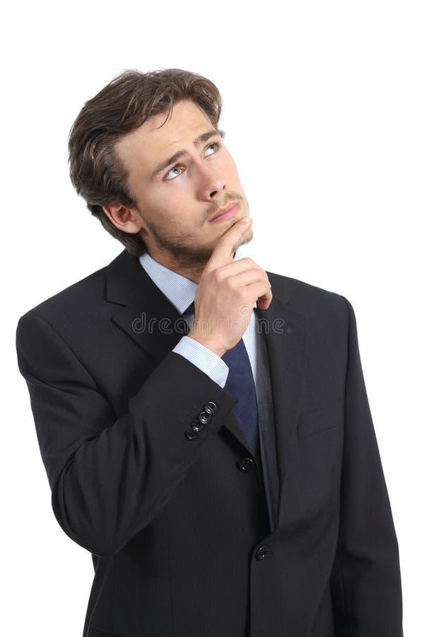 商人认为严肃和担心 免版税库存图片