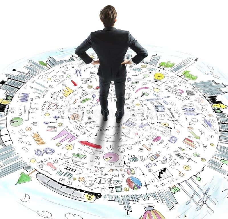 商人认为企业世界 免版税库存照片