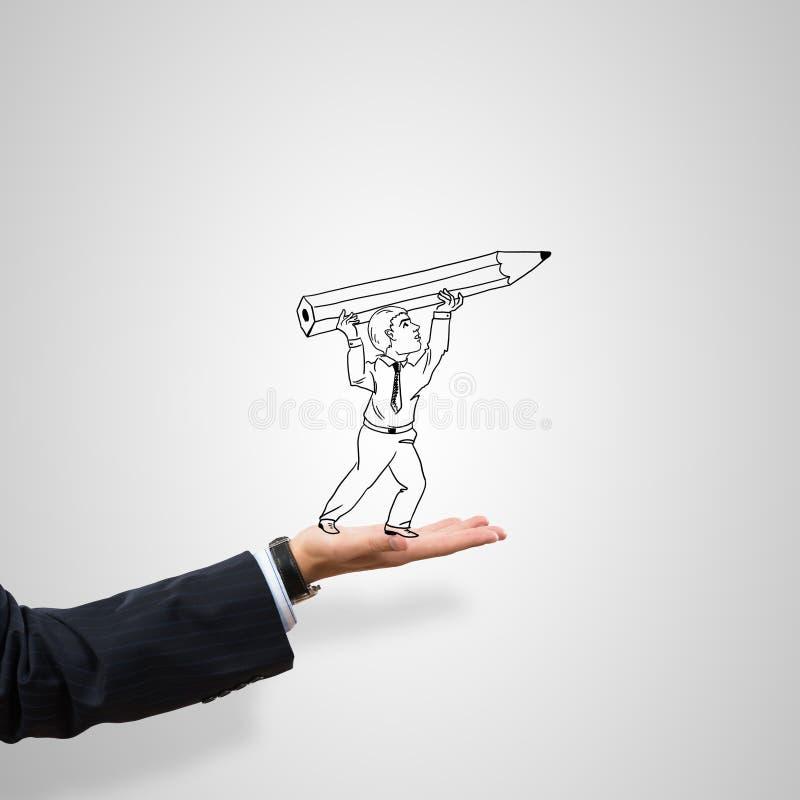 商人讽刺画在棕榈的 图库摄影