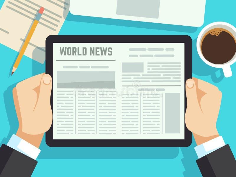 商人读书新闻在桌上 网上报纸,每日杂志 在早餐传染媒介概念的商业新闻 皇族释放例证