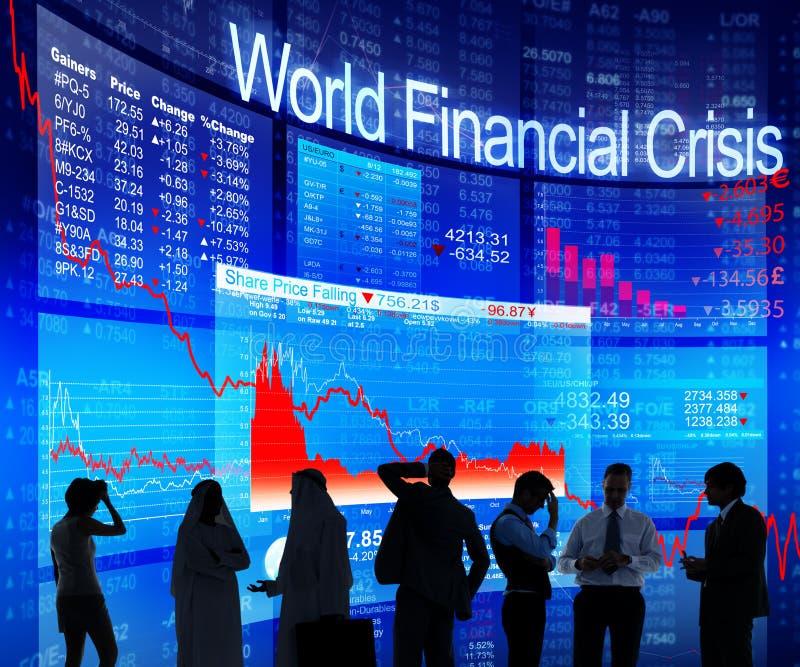商人谈论关于世界金融危机 图库摄影