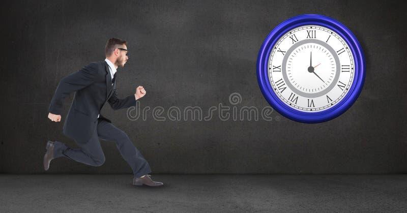 商人赛跑,当看时钟时 库存例证
